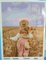 Картина по номерам Девушка в соломенной шляпке
