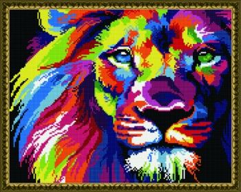 Алмазная мозаика 40х50 Радужный лев
