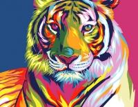 Картины по номерам 40х50 Радужный тигр